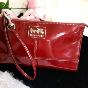 Coach Cherry Red patent leather checkbook wallet
